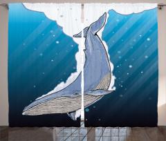 Şık Deniz ve Balina Fon Perde Mavi Beyaz