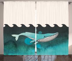 Turkuaz Beyaz Desenli Fon Perde Balina ve Deniz