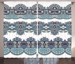 Mavi Bej Çiçek Desenli Fon Perde Dekoratif Şık