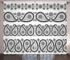 Siyah Beyaz Damlalar Fon Perde Şal Dekoratif