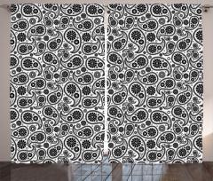 Siyah Çiçekli Damlalar Fon Perde Dekoratif Şık