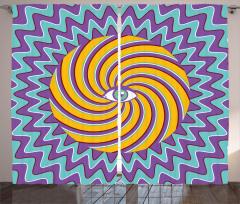 Hipnotik Göz Temalı Fon Perde Mor Turuncu Mavi