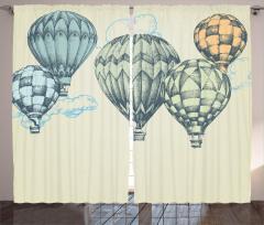 Nostaljik Balon Desenli Fon Perde Bej Şık Tasarım