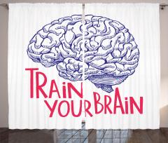 İnsan Beyni Desenli Fon Perde Kırmızı Siyah Beyaz