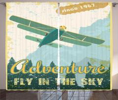 Retro Uçak Desenli Fon Perde Sarı Mavi Dağ Ağaç