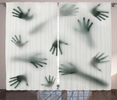 Hayaletin Elleri Temalı Fon Perde Sis Gri Korkunç