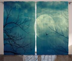 Dolunay ve Ağaç Temalı Fon Perde Gökyüzü Kuş Mavi