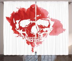 Kırmızı Kuru Kafa Fon Perde Beyaz Sulu Boya