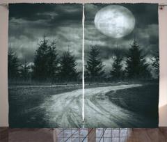 Karanlık Yol ve Dolunay Fon Perde Gri