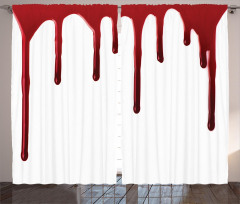 Kan Damlası Temalı Fon Perde Kırmızı Beyaz Korku