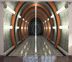 Işıklı Turuncu Koridor Fon Perde Uzay Gri Dekor