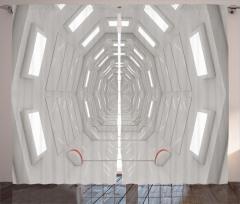 Uzay Temalı Fon Perde Beyaz Koridor Mimari Bilim