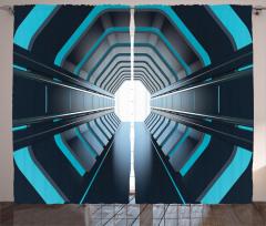 Mavi Işıklı Tünel Fon Perde Siyah Uzay