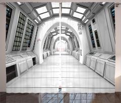 Uzay İstasyonu Temalı Fon Perde Beyaz Bilim Mimari
