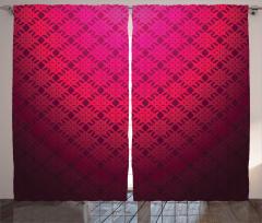 Geometrik Desenli Fon Perde Dekoratif Kırmızı Şık