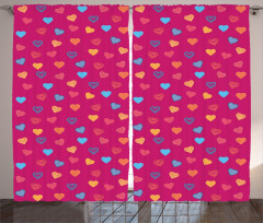 Sevgililer İçin Fon Perde Kalp Desenli Kırmızı