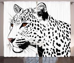 Siyah Beyaz Leopar Fon Perde Şık Tasarım