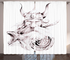 Viking ve Kalkan Fon Perde Siyah Beyaz