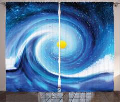 Güneş ve Uzay Desenli Fon Perde Girdap Efektli