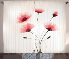 Pembe Zarif Çiçek Fon Perde Şık Çeyizlik