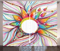 Rengarenk Dalgalı Çiçek Fon Perde Şık