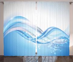 Mavi Beyaz Dalga Fon Perde Petek Efektli