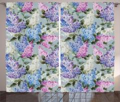 Çiçek Desenli Fon Perde Mavi Pembe Şık Tasarım