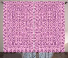 Dekoratif Fon Perde Pembe Çiçek Desenli Trend