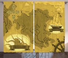 Nostaljik Korsan Haritası Temalı Fon Perde Sarı