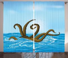 Canavar Ahtapot ve Deniz Temalı Fon Perde Mavi
