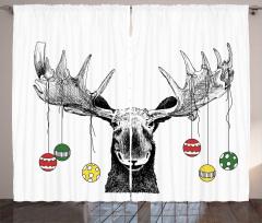 Noel Geyiği Temalı Fon Perde Siyah Beyaz Trend