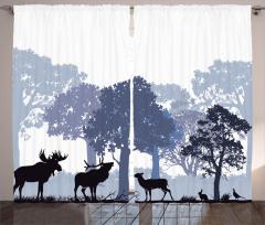 Geyik ve Orman Temalı Fon Perde Gri Şık Tasarım