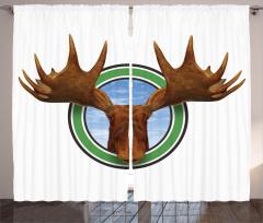 Geyik Kafası Portreli Fon Perde Kahverengi Yeşil