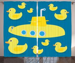 Sarı Ördek ve Denizaltı Fon Perde Sarı