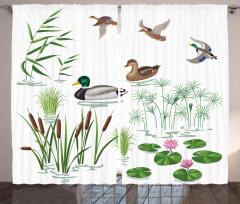 Ördek ve Bitki Desenli Fon Perde Yeşil Kahverengi