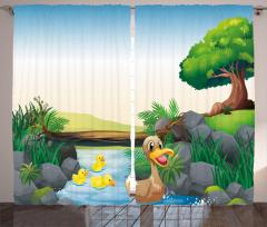 Yüzen Ördekler Desenli Fon Perde Yeşil Çocuk İçin