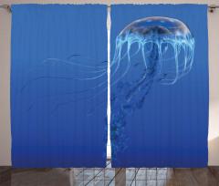 Mavi Denizanası Temalı Fon Perde Su Altı Doğa