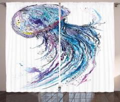 Mavi Denizanası Desenli Fon Perde Şık Tasarım
