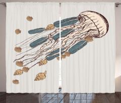 Denizanası Desenli Fon Perde Deniz Kabuğu Bej