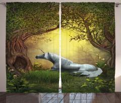 Perili Orman Temalı Fon Perde Unicorn Yeşil Şık
