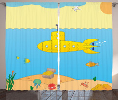 Deniz Altı Desenli Fon Perde Sarı Mavi Çocuk İçin