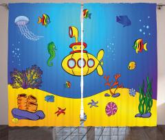 Deniz Altı ve Balık Fon Perde Mavi Sarı
