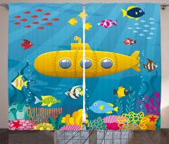 Sarı Deniz Altı Desenli Fon Perde Balık Mavi Şık