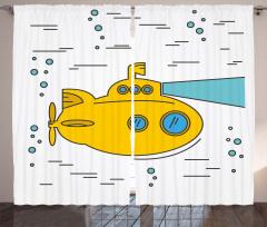Sarı Deniz Altı Desenli Fon Perde Mavi Beyaz Şık