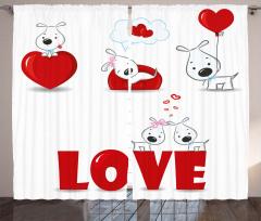 Kalpli Köpek Desenli Fon Perde Aşk Temalı Kırmızı