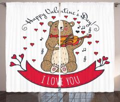 Kemancı Ayı Desenli Fon Perde Kırmızı Kalp Aşk