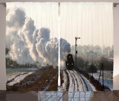 Nostaljik Tren Temalı Fon Perde Duman Beyaz Kar