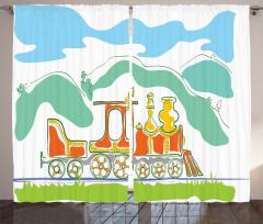 Dağlar ve Raylar Fon Perde Sihirli Tren Temalı Yeşil