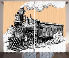 Siyah Beyaz Fon Perde Nostaljik Tren Temalı Şık