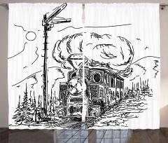 Nostaljik Tren Desenli Fon Perde Siyah Beyaz Trend